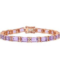 amethyst (17-1/10 ct. t.w.) & white sapphire (4/5 ct. t.w.) link bracelet in 18k rose gold-plated sterling silver