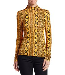 beth snake-print turtleneck top