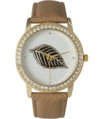 rhinestone bezel and leaf leather strap watch