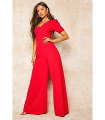 one shoulder puff sleeve jumpsuit, red