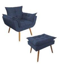 combo poltrona decorativa opalla mais puff pés palito suede azul marinho - ds móveis