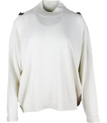 brunello cucinelli turtleneck sweater in cashmere with detail on the sleeve and cuff with turn-up
