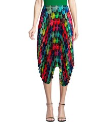 milly women's pleated geo print skirt - size 2