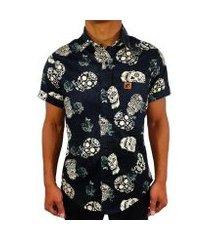 camisa estampada casual camaleão urbano caveira mexicana black roses masculina