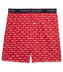 tommy hilfiger men's logo print boxer scarlet - l