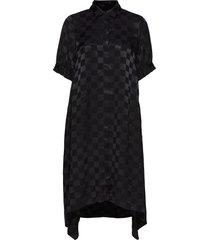 check viscose dancella jurk knielengte zwart mads nørgaard