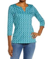 l.l.bean print split neck pima cotton tunic, size medium in deep turquoise geo at nordstrom