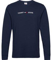 tjm longsleeve straight logo tee t-shirts long-sleeved blå tommy jeans