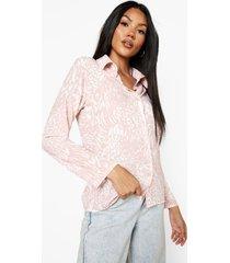 getailleerde monochrome dierenprint blouse, blush