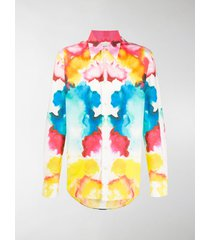 alexander mcqueen tie-dye print long-sleeved shirt