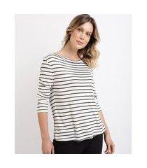 blusa feminina em tricô manga 7/8 decote canoa branca
