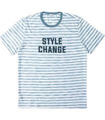 camiseta tradicional malha listrada wee! azul claro - g