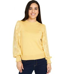 sweater manga floral amarillo nicopoly