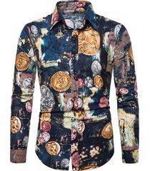 tie dye portrait print button up lounge shirt