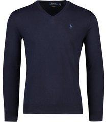 ralph lauren trui v-hals donkerblauw slim fit