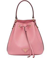 prada triangle patch bucket bag - pink