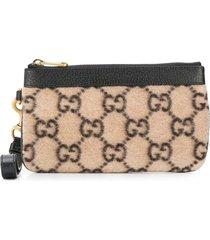 gucci mini gg supreme pouch bag - neutrals