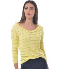 sueter para mujer en jersey amarillo