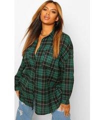 plus geruite oversized boyfriend blouse, green