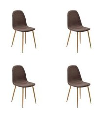 conjunto 04 cadeiras tania marrom base clara rivatti
