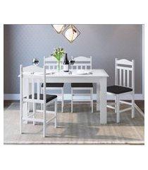 conjunto mesa cozinha com 4 cadeiras branco e preto lilies