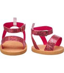sandalias rosadas con glitter build a bear