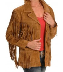 new women tan suede leather western cowboy jacket with fringe, fringe jackets