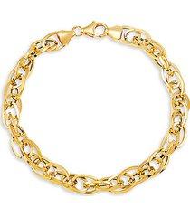 14k yellow gold multi interlock hollow oval links bracelet