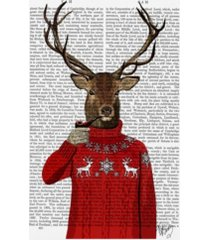 "fab funky deer in ski sweater canvas art - 19.5"" x 26"""