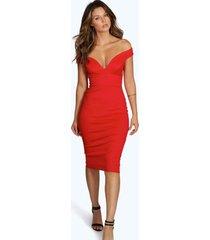 bodycon midi jurk met open schouders en hartvormige hals, rood