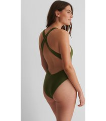 na-kd swimwear recycled baddräkt med korslagda band - green