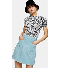blue suede pocket mini skirt - pale blue