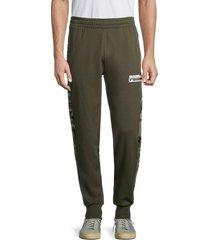 puma men's camo-panel joggers - green - size m
