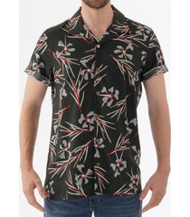 ps by paul smith floral print open collar shirt - black m2r-114r-a20530