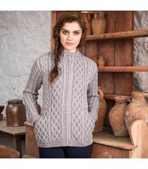 the kenmare aran cardigan gray xl