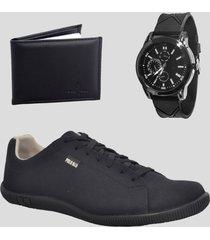 sapatenis casual masculino com relogio e carteira - preto - masculino - tãªxtil - dafiti