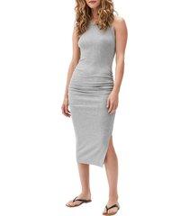 women's michael stars wren sleeveless side slit knit midi dress, size x-large - grey