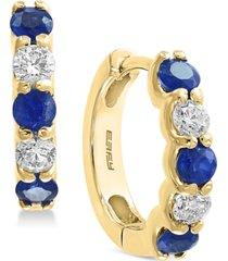 effy sapphire (3/4 ct. t.w.) & diamond (3/8 ct. t.w.) hoop earrings in 14k gold