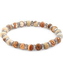 stainless steel & camel agate beaded bracelet