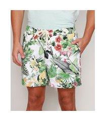 short de sarja masculino estampado floral com bolsos off white