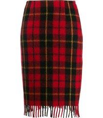 marine serre fitted tartan skirt - red