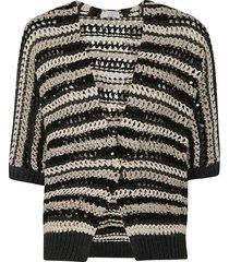 brunello cucinelli stripe patterned woven cardigan
