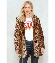 womens and i'm feline good faux fur leopard coat - brown