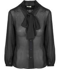 saint laurent georgette blouse with lavalliere collar