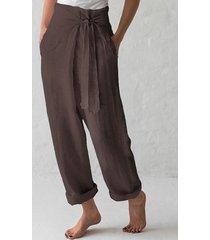 celmia café con cierre automático diseño bolsillos laterales pantalones