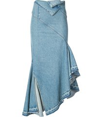 monse fold-waist trumpet denim skirt - blue