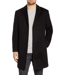 men's john w. nordstrom mason wool & cashmere overcoat, size 46r - black