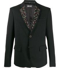 just cavalli rhinestone-embellished single-breasted blazer - black