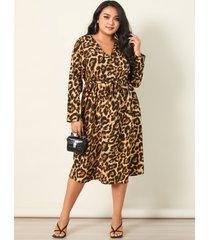 yoins plus talla cuello en v leopardo cinturón diseño manga larga midi vestido