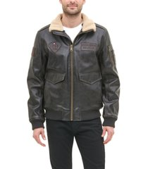 tommy hilfiger men's top gun faux leather aviator bomber jacket, created for macy's